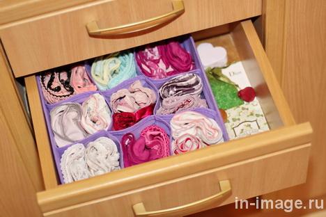 способы хранения нижнего белья в шкафу